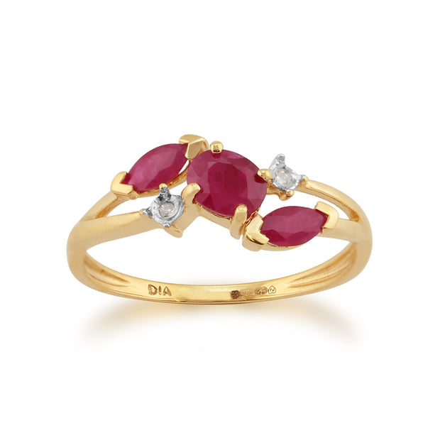 Ruby Three Stone Ring Image 1