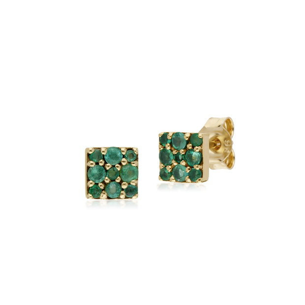 Classic Emerald Cluster Stud Earrings Image 1