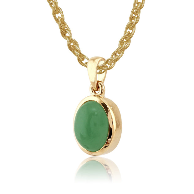 Classic Green Jade Bezel Pendant & Cocktail Ring Set Image 2