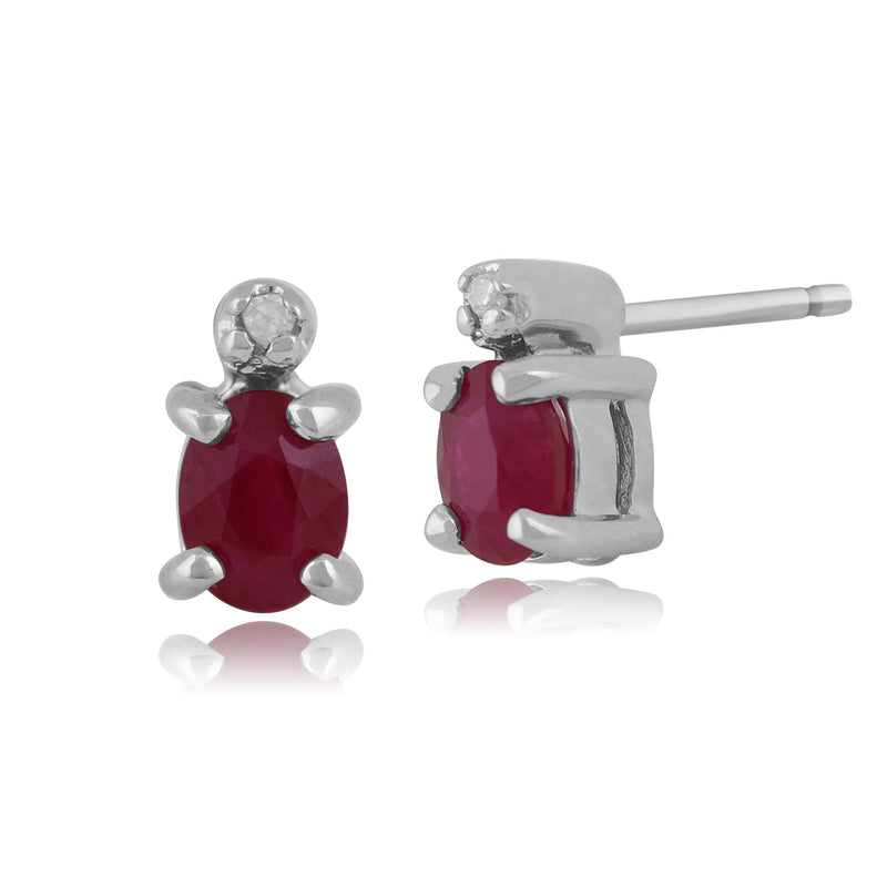 Classic Ruby & Diamond Stud Earrings Image 1