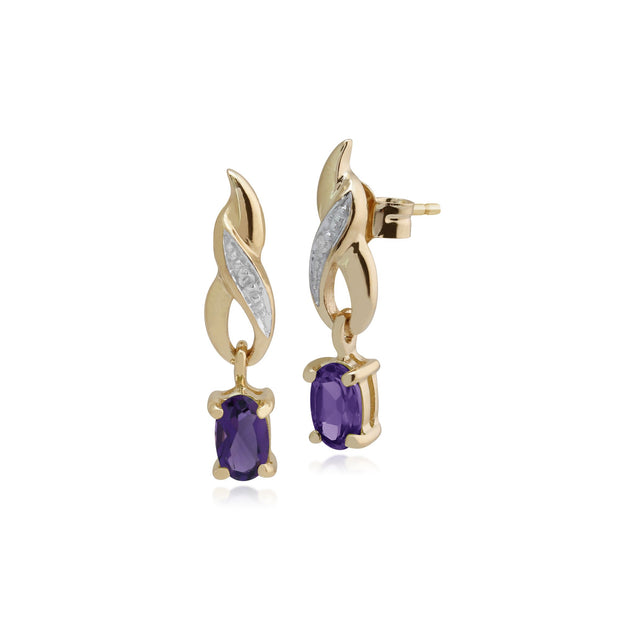 Classic Amethyst & Diamond Twist Drop Earrings Image 1