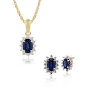 Classic Sapphire & Diamond Halo Stud Earrings & Pendant Set Image 1