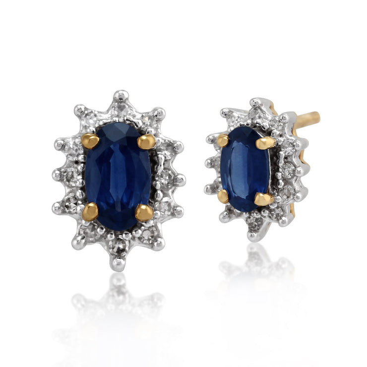 Classic Sapphire & Diamond Halo Stud Earrings & Pendant Set Image 2