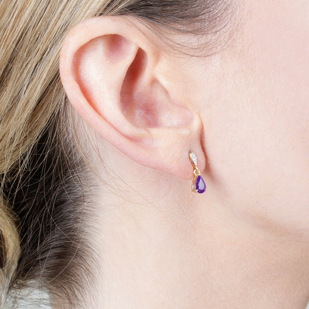 Classic Amethyst & Diamond Drop Earrings Image 2