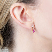 Classic Ruby & Diamond Drop Earrings Image 2