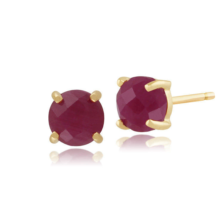 Classic Ruby Checkerboard Stud Earrings Image 1