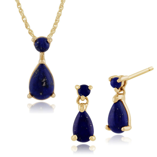 Classic Oval Lapis Lazuli Bezel Drop Earrings & Pendant Set Image 1