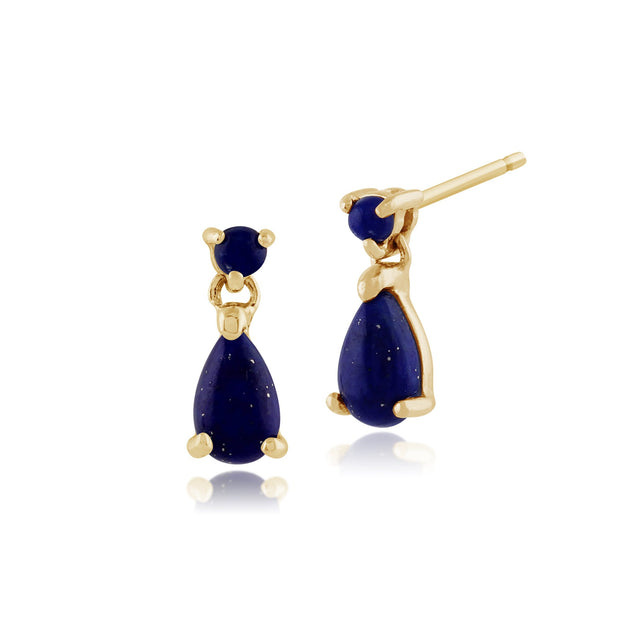 Classic Oval Lapis Lazuli Bezel Drop Earrings & Pendant Set Image 2