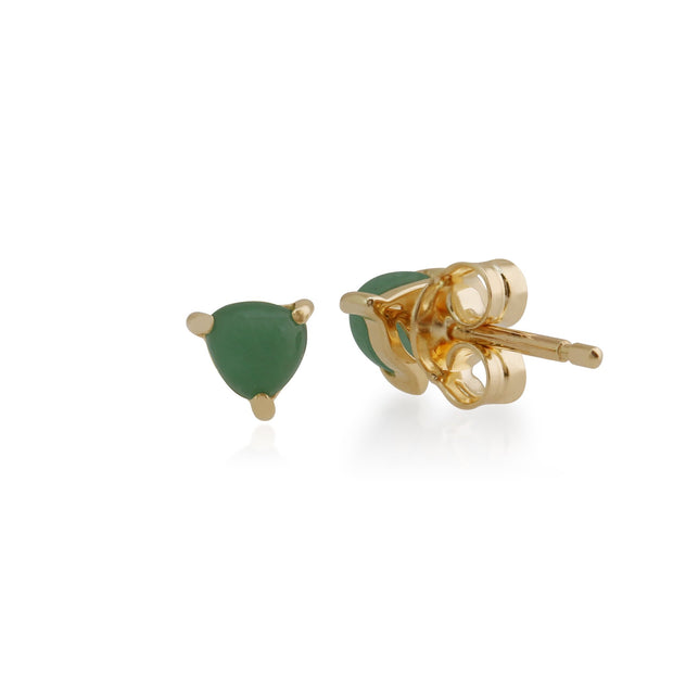 Classic Trillion Green Jade Stud Earrings Image 2