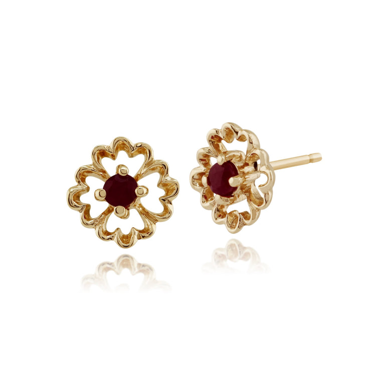 Floral Ruby Stud Earrings Image 1