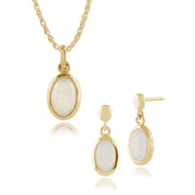 Classic Oval Opal Single Stone Bezel Drop Earrings & Pendant Set Image 1