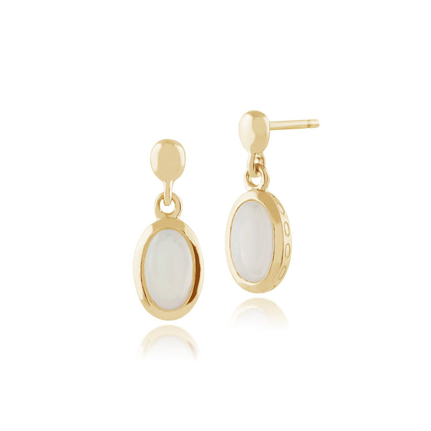 Classic Oval Opal Single Stone Bezel Drop Earrings & Pendant Set Image 2