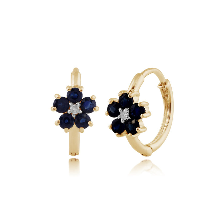 Floral Sapphire & Diamond Hoop Earrings Image 1