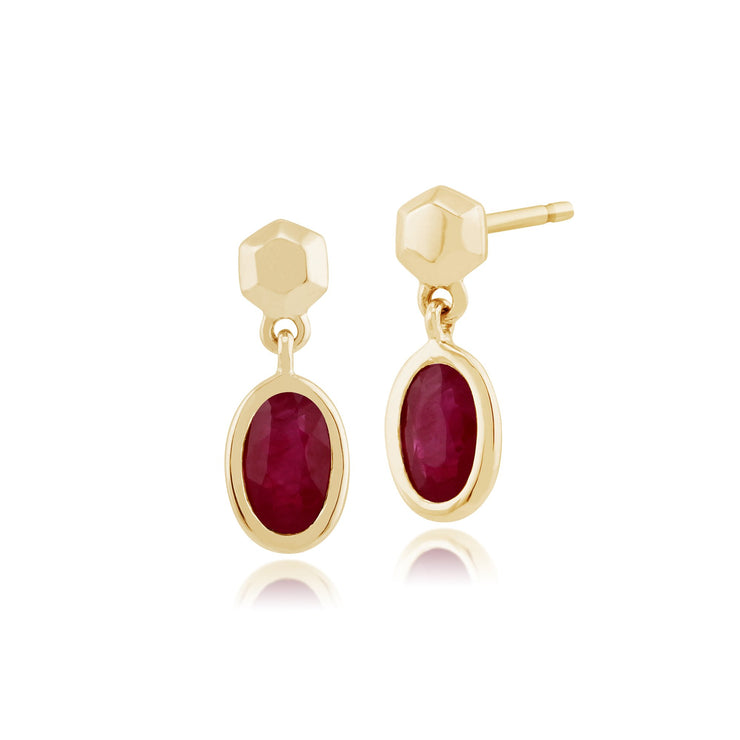 Classic Oval Ruby Bezel Drop Earrings Image 1