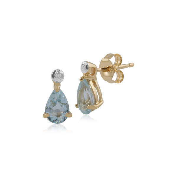 Classic Blue Topaz & Diamond Drop Earrings Image 1