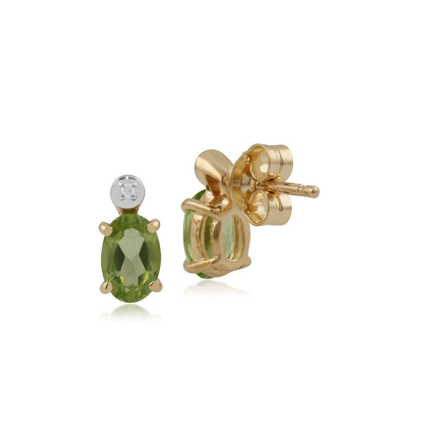 Classic Oval Peridot & Diamond Stud Earrings Image 2