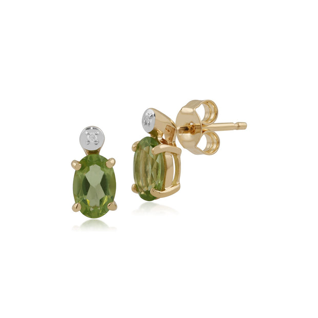 Classic Oval Peridot & Diamond Stud Earrings Image 1