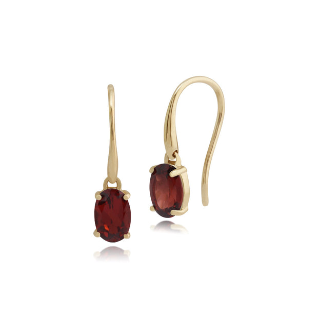Classic Oval Garnet Drop Earrings Image 1