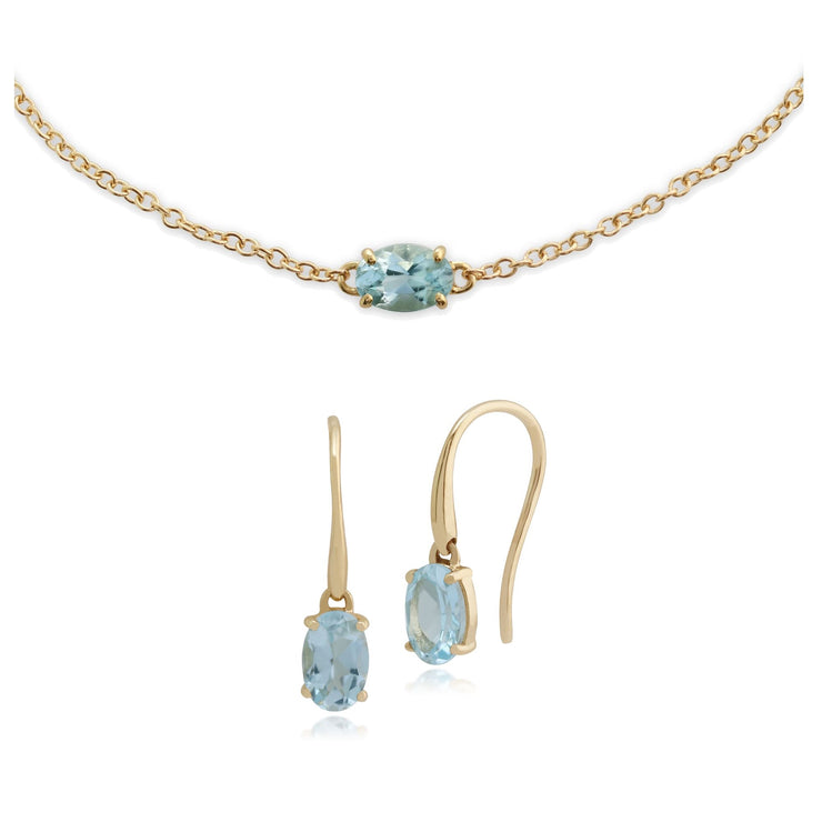 Classic Aquamarine Single Stone Drop Earrings & Bracelet Set Image 1