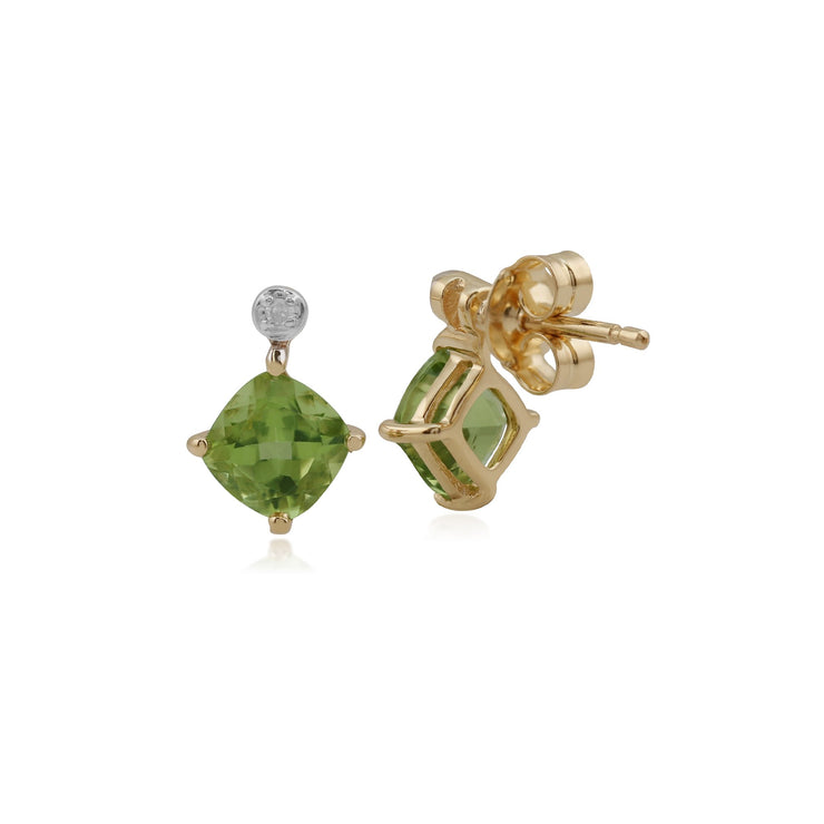 Classic Square Peridot & Diamond Stud Earrings Image 2