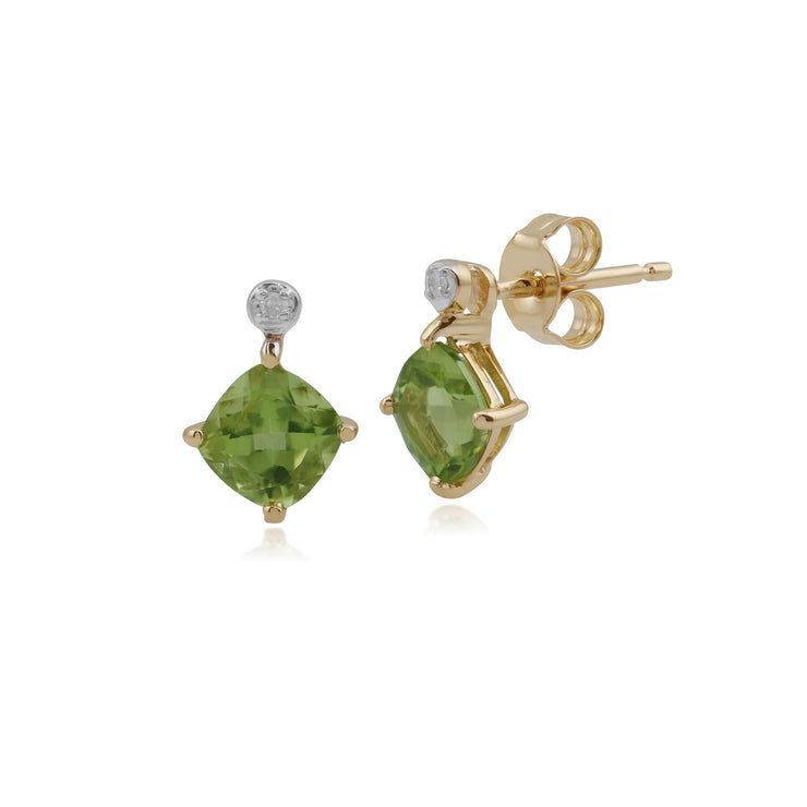 Classic Square Peridot & Diamond Stud Earrings Image 1