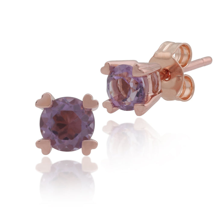 Classic Amethyst Heart Claw Stud Earrings Image 1