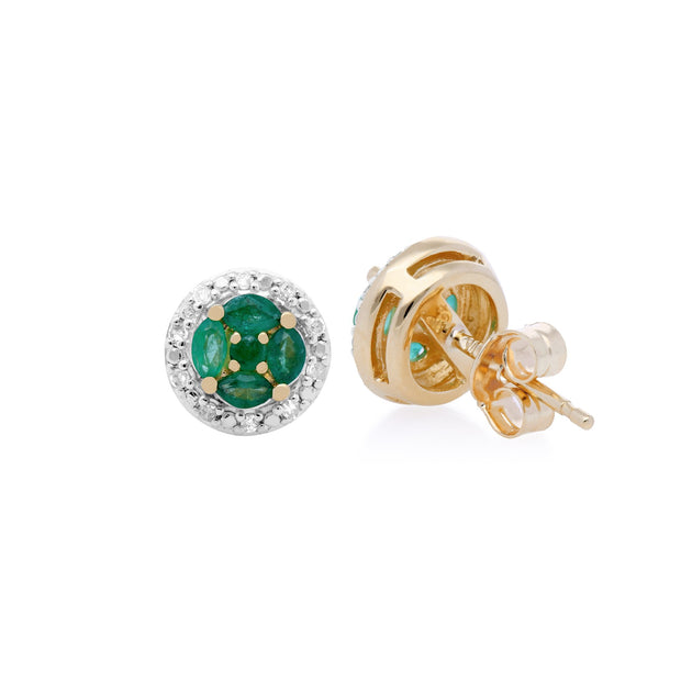 Classic Emerald & Diamond Halo Cluster Stud Earrings Image 2