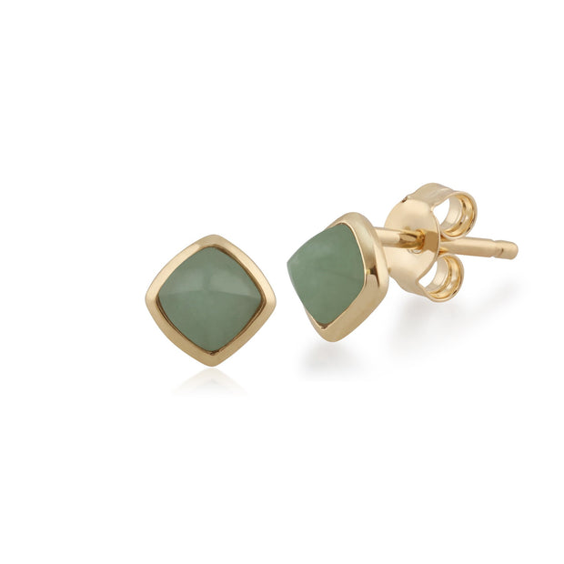 Classic Cushion Green Jade Bezel Stud Earrings & Pendant Set Image 2