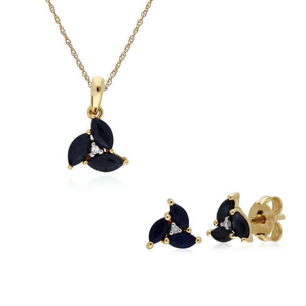 Classic Sapphire Marquise Cluster Stud Earrings & Necklace Set Image 1