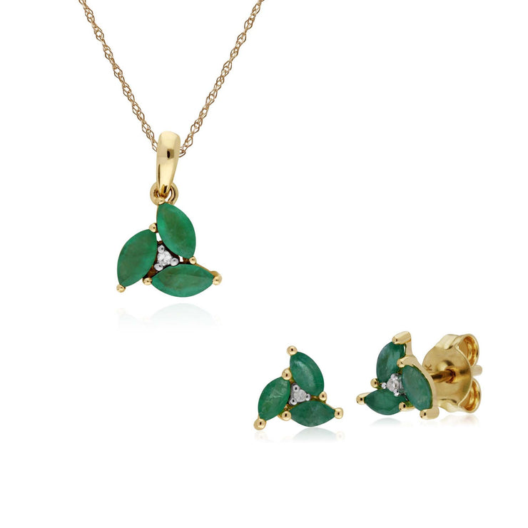 Classic Emerald Marquise Cluster Stud Earrings & Necklace Set Image 1