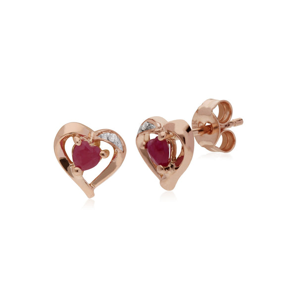 Classic Ruby & Diamond Heart Stud Earrings Image 1