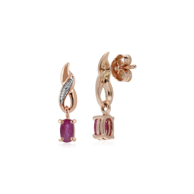 Classic Ruby & Diamond Spiral Drop Earrings Image 2