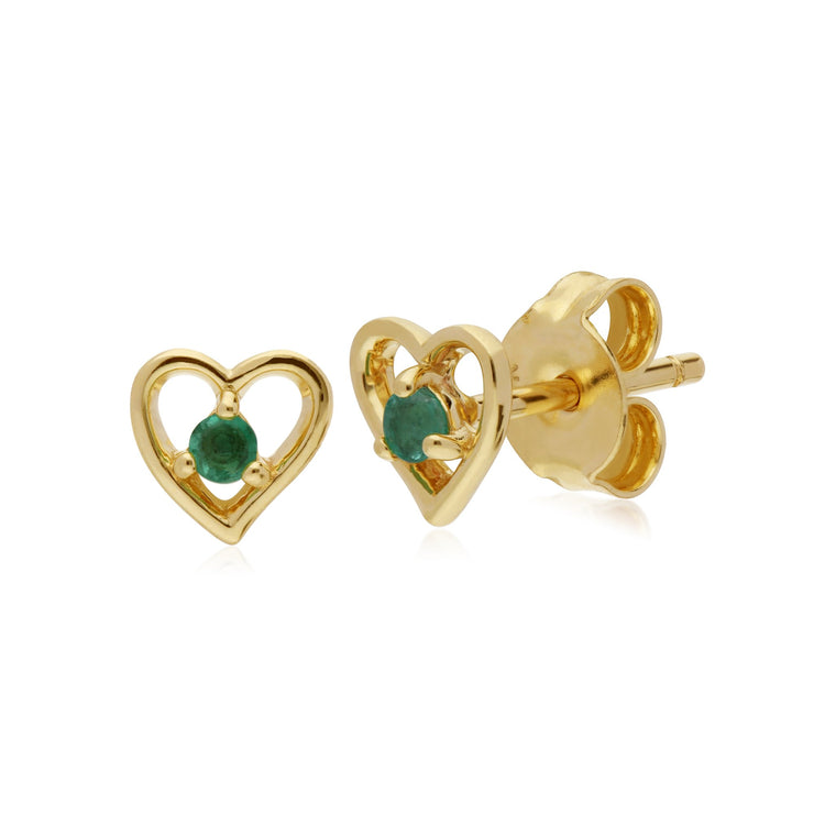 Classic Round Emerald Heart Stud Earrings Image 1