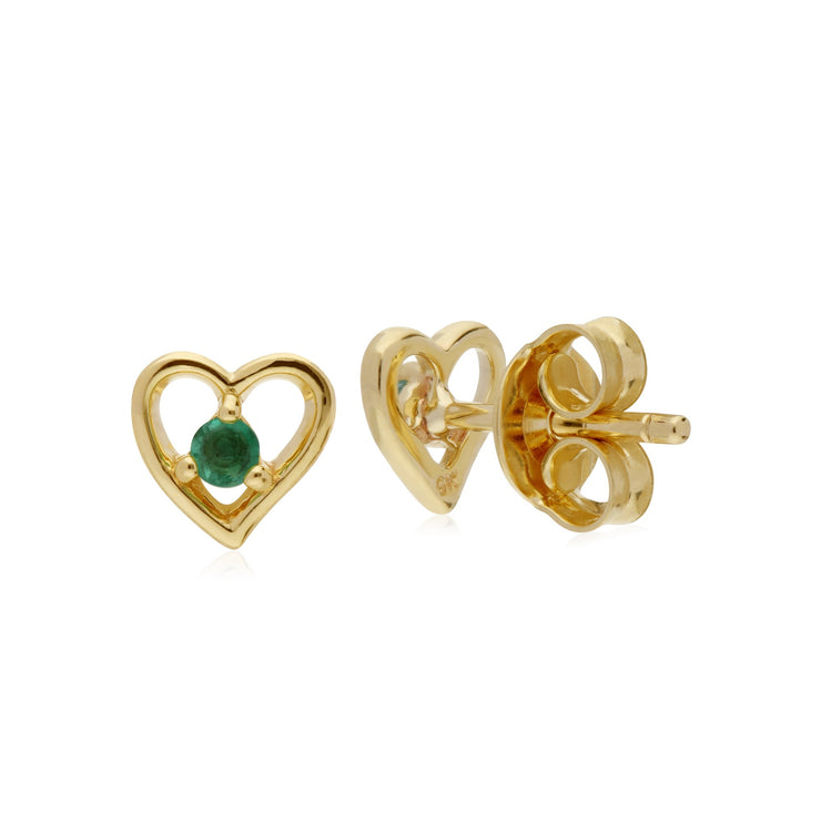 Classic Round Emerald Heart Stud Earrings Image 2