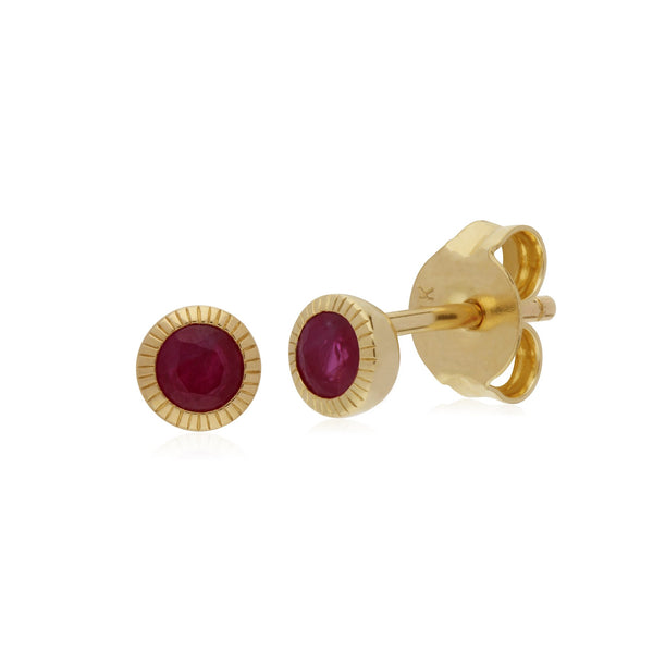 Single Ruby Milgrain Stud Earrings Image 1