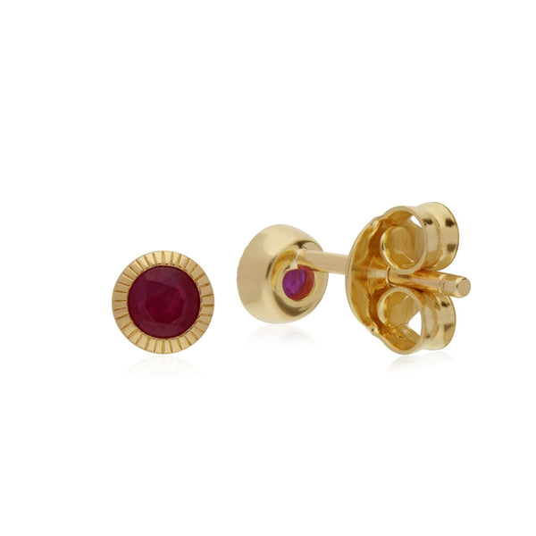 Single Ruby Milgrain Stud Earrings Image 2
