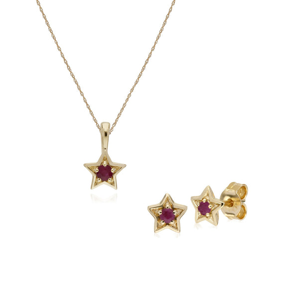 Contemporary Ruby Star Earrings & Necklace Set Image 1