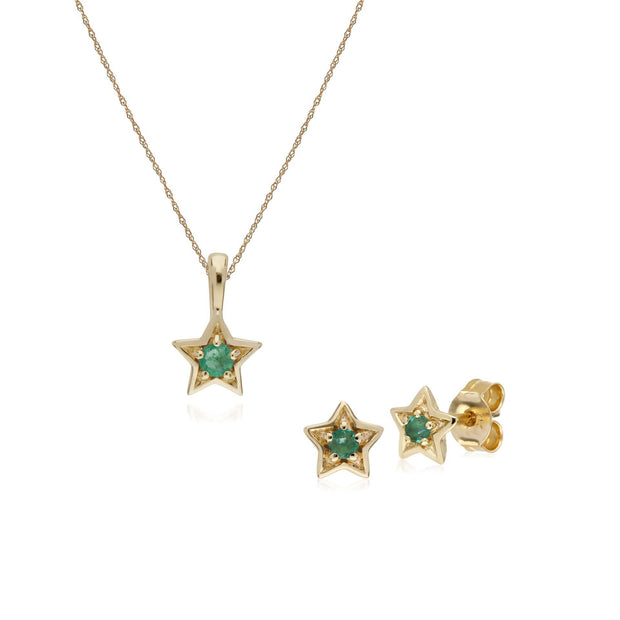 Contemporary Emerald Star Earrings & Necklace Set Image 1