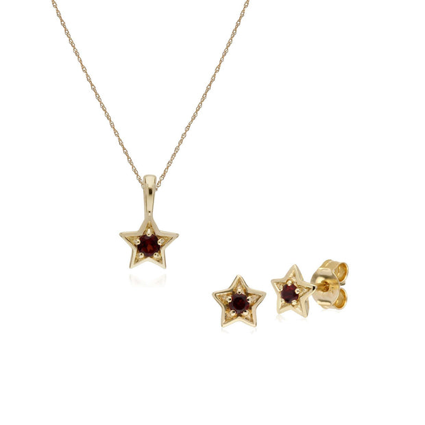 Contemporary Garnet Star Earrings & Necklace Set Image 1
