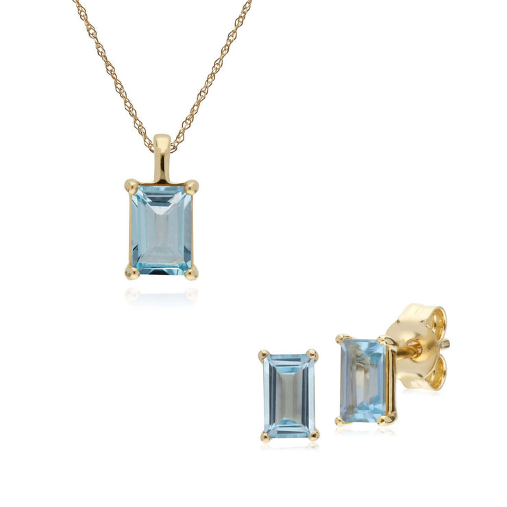 Classic Blue Topaz Baguette Stud Earrings & Necklace Set Image 1