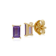 Classic Baguette Amethyst Stud Earrings Image 2