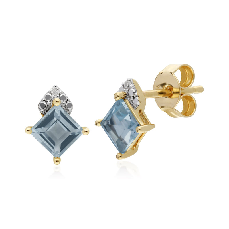 Classic Square Blue Topaz Stud Earrings Image 1