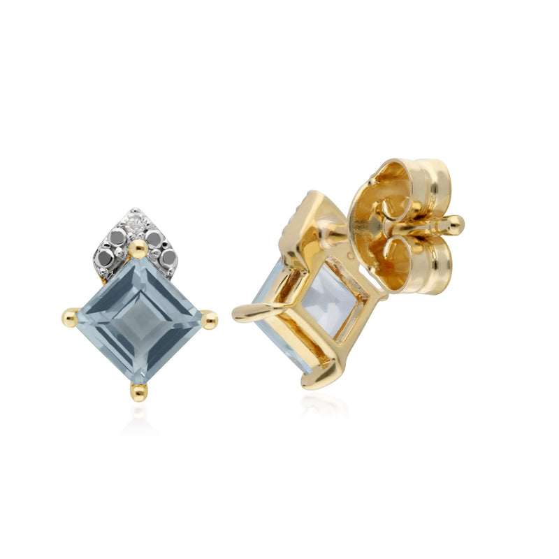 Classic Square Blue Topaz Stud Earrings Image 2