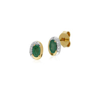 Classic Emerald & Diamond Stud Earrings Image 1