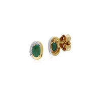 Classic Emerald & Diamond Stud Earrings Image 2