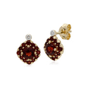 Classic Garnet Cluster Stud Earrings Image 1