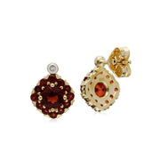 Classic Garnet Cluster Stud Earrings Image 2