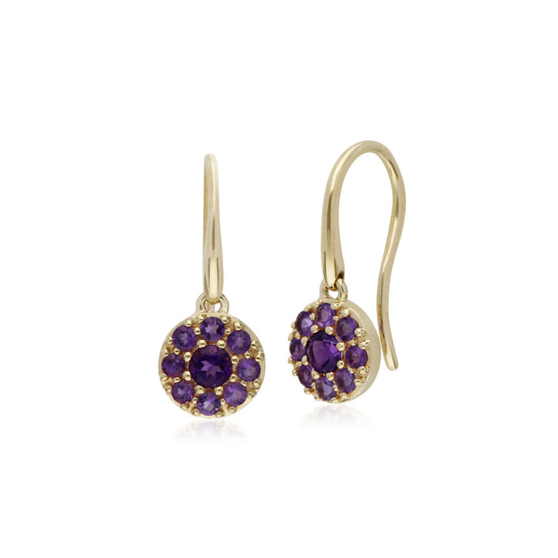Classic Amethyst Round Cluster Fish Hook earrings Image 1
