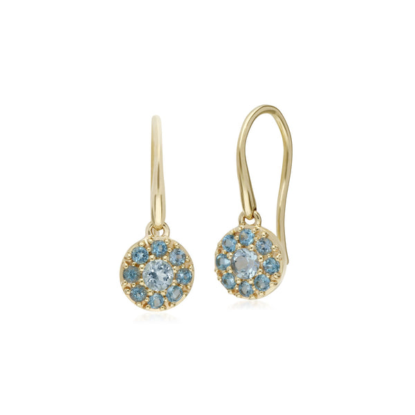 Classic Blue Topaz Round Cluster Fish Hook earrings Image 1