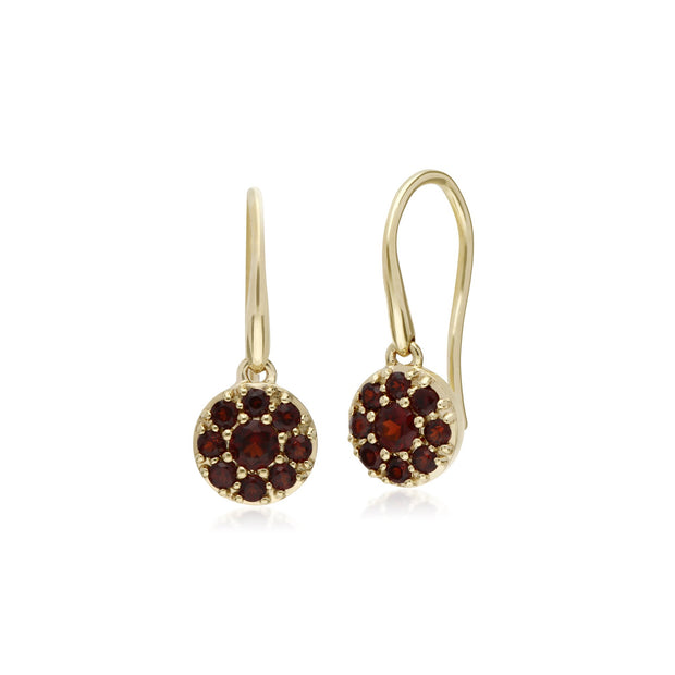 Classic Garnet Round Cluster Fish Hook earrings Image 1